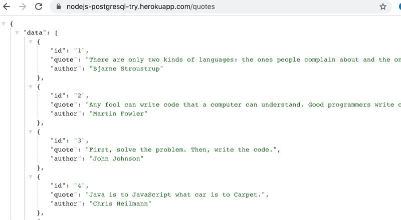 Node.js Quotes API running on Heroku