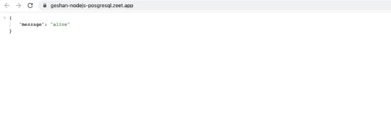 Node.js app running on Zeet
