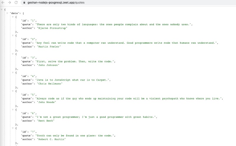 Node.js Quotes API running on Zeet