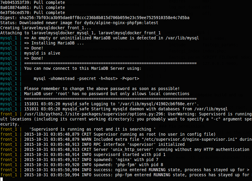 Laravel, MariaDB (MySQL) and docker, docker compose up output