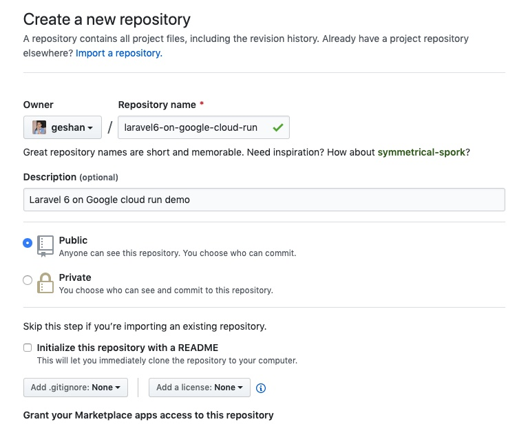 Creating a repo for Laravel on Github